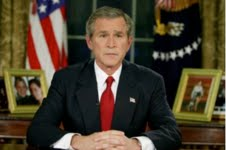 President Bush announces the invasion of Iraq from the Oval Office, Mar. 19, 2003.